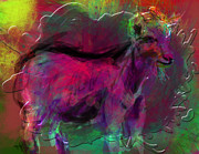 Goat Digital Art Metal Prints - Modern Cave Drawing on Computer Metal Print by James Thomas