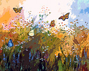 Butterflies Mixed Media - Modern Chamomille and Butterflies by Ginette Callaway