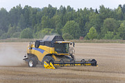 Machinery Photo Posters - Modern Combine Harvester Poster by Jaak Nilson