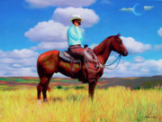 Prairie Mixed Media - Modern Cowboy by Snake Jagger