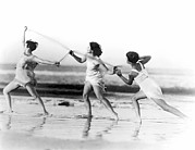 18-19 Years Prints - Modern Dance On The Beach Print by Underwood Archives