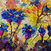 Modern Decorative Flower Painting Cornflowers Print by Ginette Fine Art LLC Ginette Callaway