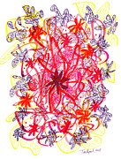 Floral Drawings Originals - Modern Drawing 134 by Lynne Taetzsch