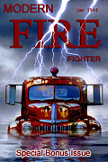 Magazine Cover Digital Art - Modern Fire Fighter by Ron Jones
