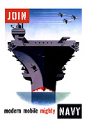 Aircraft Carrier Prints - Modern Mobile Mighty Navy Print by War Is Hell Store