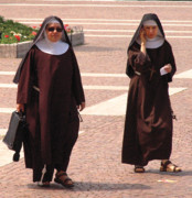 Sisters Framed Prints - Modern Nuns Ready for Business Framed Print by Don Wolf