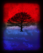 Splashy Art Metal Prints - Modern Paintings Abstract TREE Wall Art Metal Print by Robert R Splashy Art