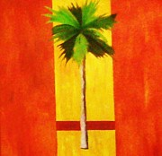 Combine Paintings - Modern Palm Orange by Unique Consignment