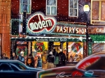 Shops Drawings Prints - Modern Pastry of Boston at Christmas Print by Dave Olsen