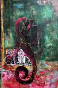 Female Art Mixed Media Print Mixed Media Posters - Modern PATINA Abstract Poster by Anahi DeCanio
