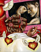 Virtual Painting Framed Prints - Modern Romance right Framed Print by Hiroko Sakai