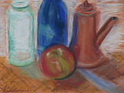 Wine-bottle Pastels - Modern Still Life by Laura Sullivan