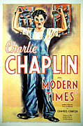 Shirt Framed Prints - Modern Times, Charlie Chaplin, 1936 Framed Print by Everett