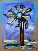 Visionary Art Drawings - Modern Wind Power by Mary Carol Williams