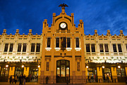 Large Clock Prints - Modernista Facade Of Estacion Del Norte (north Train Station), Valencia, Spain, Europe Print by Greg Elms