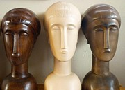 Sculpture Ceramics Originals - Modigliani style ceramic heads by Susanna Baez