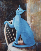 Cat Prints Painting Framed Prints - Modiglianis Cat Framed Print by Eve Riser Roberts