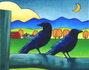 Farm Life Prints - Moe and Joe Crow Print by Stacey Neumiller