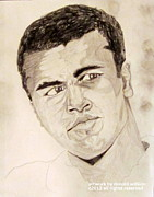 Boxer Drawings Framed Prints - Mohammad Ali Framed Print by Donald William