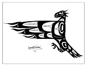 Pole Drawings Metal Prints - Mohawk Eagle black Metal Print by Speakthunder Berry