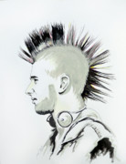 Punk Drawings Posters - Mohawk Poster by Michael Whitlark