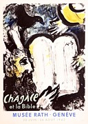 Mourlot Paintings - Moise et les Tables de la Loi by Marc Chagall