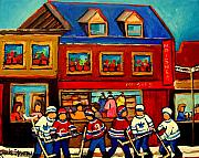 Hockey In Montreal Paintings - Moishes Steakhouse Hockey Practice by Carole Spandau