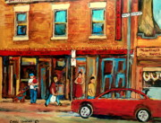 Luncheon Party Framed Prints - Moishes Steakhouse On The Main By Montreal Streetscene Painter Carole  Spandau  Framed Print by Carole Spandau
