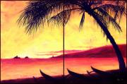 Clean Water Paintings - Mokulua Sundown by Angela Treat Lyon