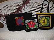 Purses Tapestries - Textiles - Mola Purses Handmade Reverse Applique San Blas Panama by Rita  Smith