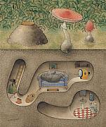 Home Drawings Metal Prints - Mole Metal Print by Kestutis Kasparavicius