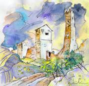 Travel Sketch Prints - Molina de Aragon Spain 01 Print by Miki De Goodaboom