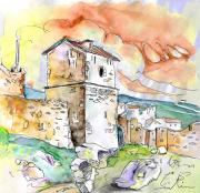 Travel Sketch Posters - Molina de Aragon Spain 02 Poster by Miki De Goodaboom