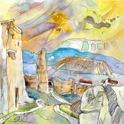 Travel Sketch Prints - Molina de Aragon Spain 03 Print by Miki De Goodaboom