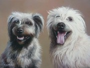 Terriers Pastels - Molly And Finan by Mark Whittaker