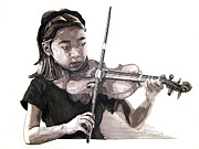 Grayscale Drawings - Molly and the Violin by Tyler Auman