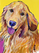 Yellow Dog Metal Prints - Molly Metal Print by Pat Saunders-White