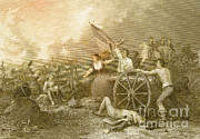 Lithograph Framed Prints - Molly Pitcher At The Battle Of Monmouth Framed Print by Photo Researchers