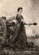 American Revolution Framed Prints - Molly Pitcher At The Battle Framed Print by Photo Researchers