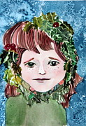 Head Drawings Prints - Mollys Holly Print by Mindy Newman