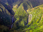 Aloha Prints - Molokai Hawaii Waterfalls Print by Scott McGuire