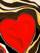 Hearts Prints - Molten Heart1 Print by Linnea Tober