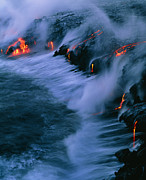 Hawai Posters - Molten Lava Flowing Into The Ocean Poster by G. Brad Lewis