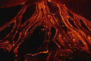 Volcanoes Prints - Molten Lava Flows Down A Volcanic Slope Print by Carsten Peter