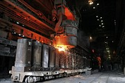 Molten Metal Being Poured Into Vats Print by Ria Novosti