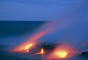 Flowing Lava Posters - Molten Pahoehoe Lava Flowing Into The Ocean Poster by G. Brad Lewis