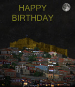 Ellenisworkshop Prints - Molyvos By Night  Lesvos Greece  Happy Birthday Print by Eric Kempson