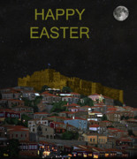 Ellenisworkshop Prints - Molyvos By Night  Lesvos Greece  Happy Easter Print by Eric Kempson