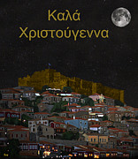 Eric Kempson Posters - Molyvos Christmas Greek Poster by Eric Kempson