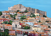 Postage Included Paintings - Molyvos Lesvos Greece by Eric Kempson